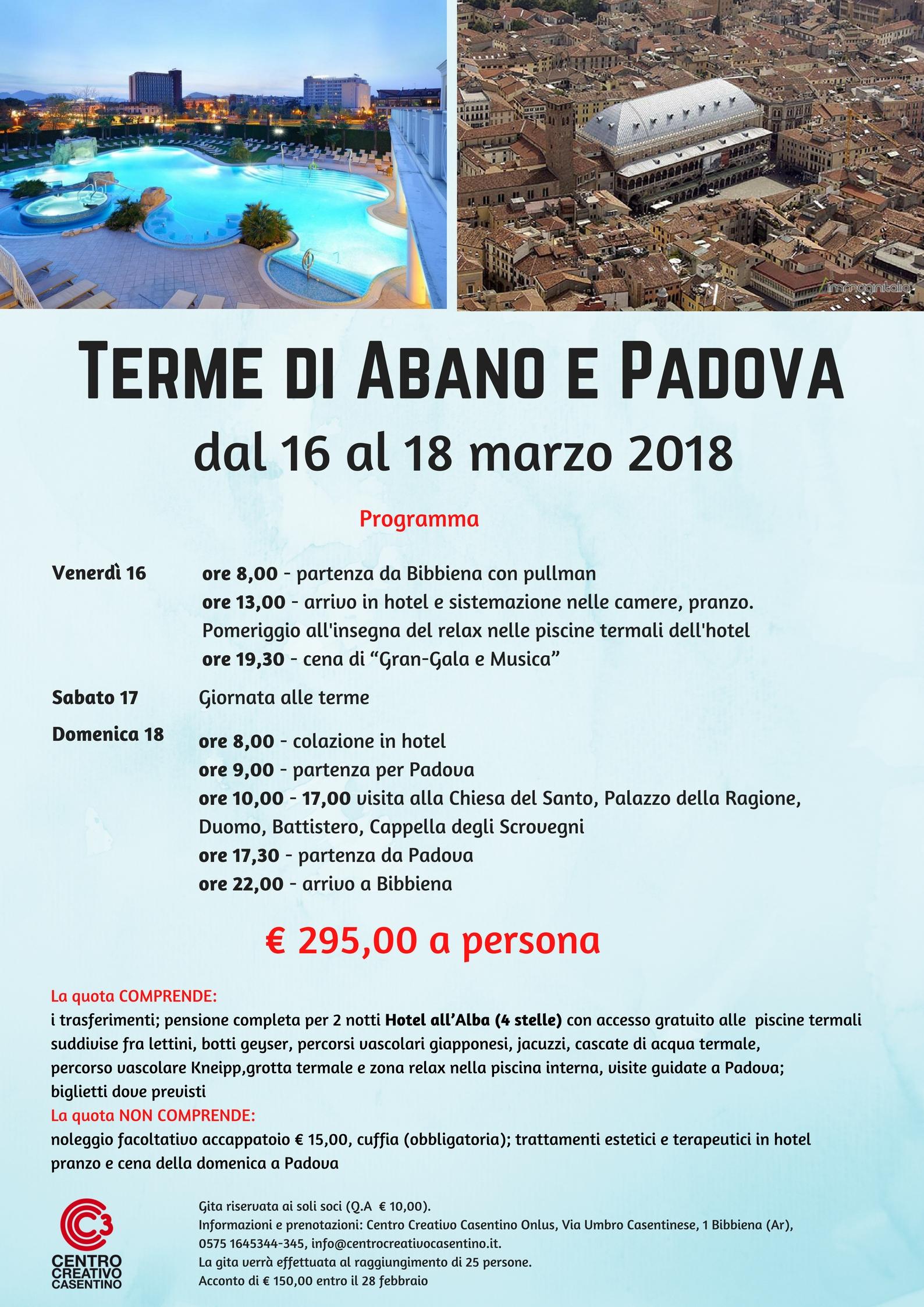 Calendario Manifestazioni Abano Terme.Gita Abano Terme E Padova Centro Creativo Casentino Onlus